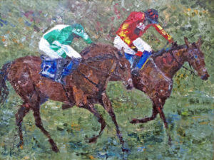 oil painting horse and rider racing two to go cheltenham new year