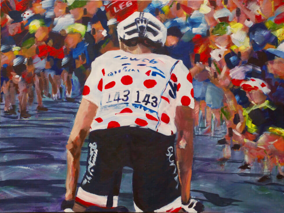 acrylic painting of tour de france rider for sunweb Barguil KOM by kathryn sassall