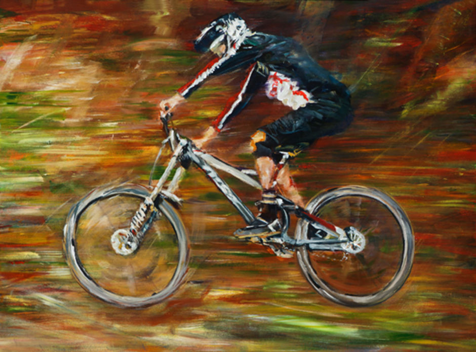 Acrylic Painting of Mountain Bike Downhill racer jumping Racer