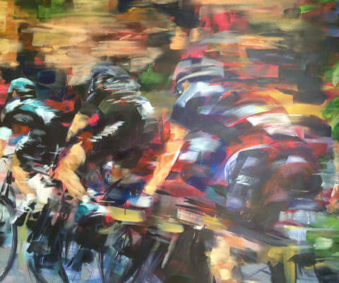 painting tour de france cyclists
