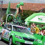 green jersey sprinting caravan car tour de france photograph