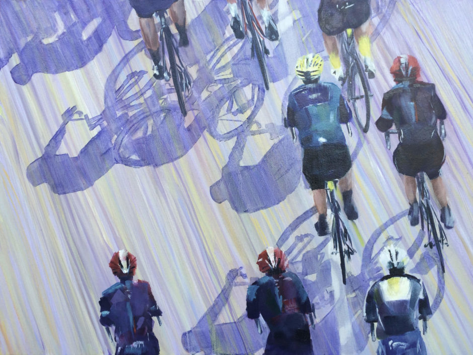 painting cyclists shadows overhead tour de yorkshire