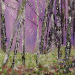 Acrylic painting of trees in the rain with pink sky
