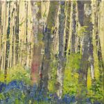 detail of an acrylic painting of a wood with bluebells