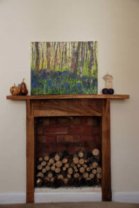 acrylic painting of a bluebell wood