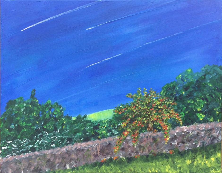 acrylic painting by kathryn sassall of summer sky, wall and apple tree