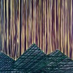 lines and pyramids of colour make up this acrylic painting of trees