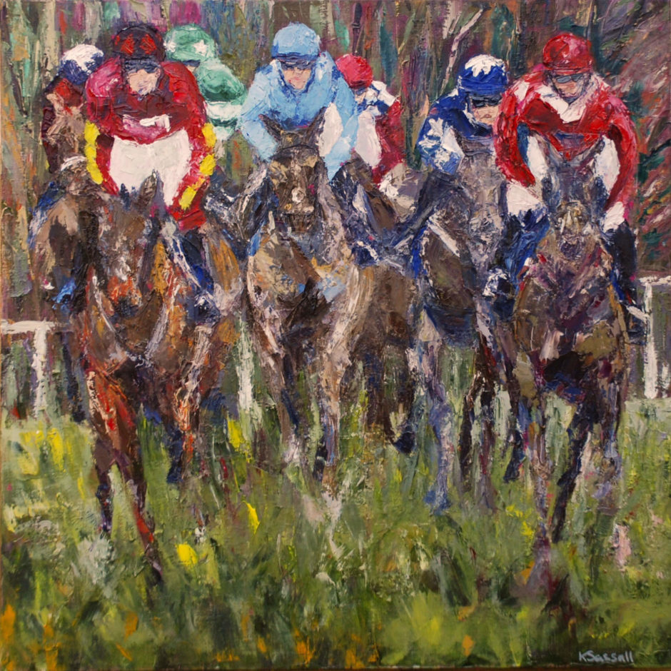 oil painting of horse and rider racing Cheltenham New Years Day 2017 by Kathryn Sassall