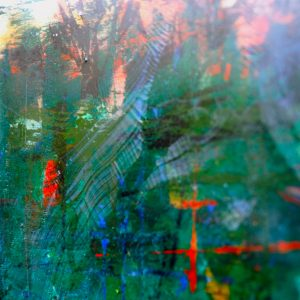 detail of train journey painting with resin finish