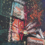 pastel drawing of time square lights during millennium celebrations