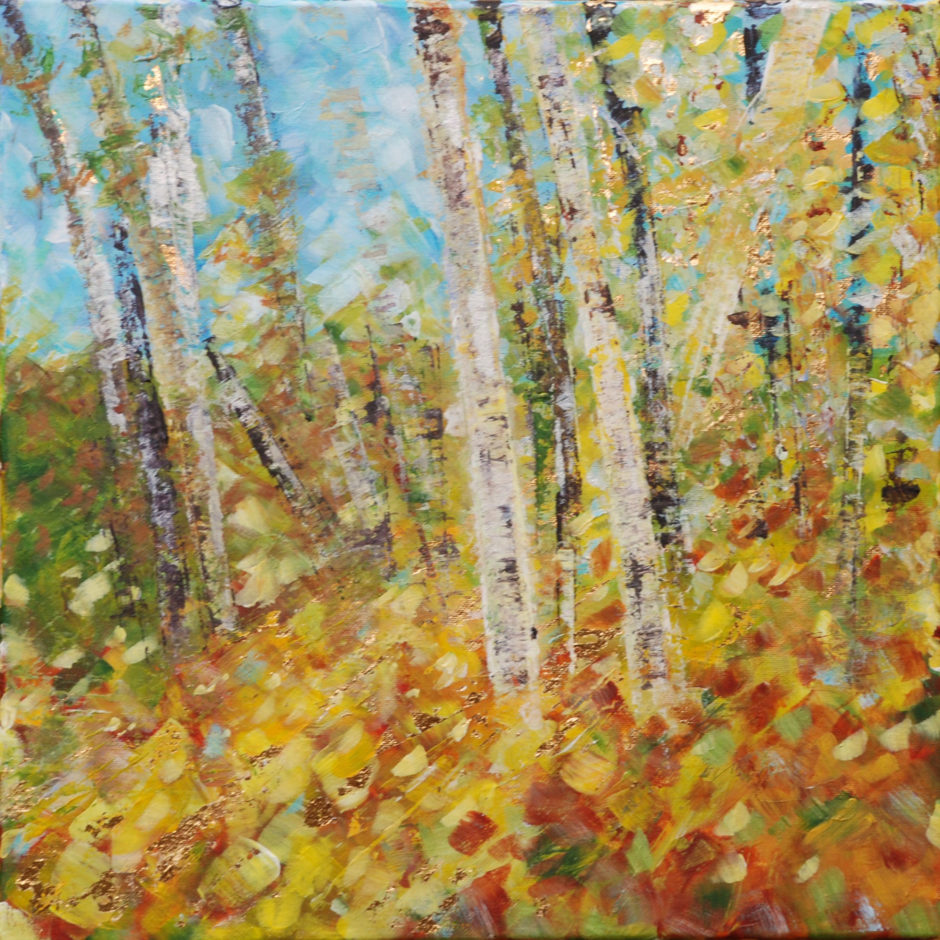 acrylic painting of trees in autumn light