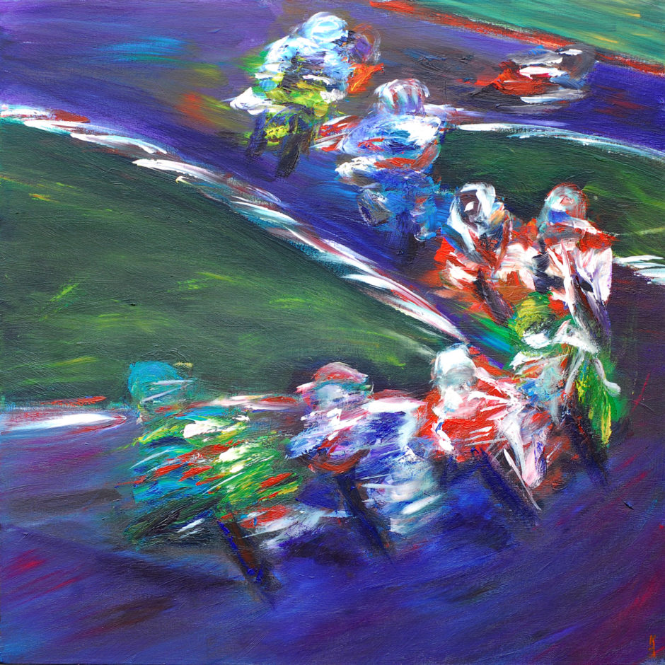 acrylic painting of british superbikes weaving through the corners at clearway curves brands hatch