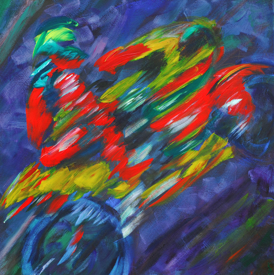 acyrlic painting of BSB rider Lavery in Swan Yamaha colours