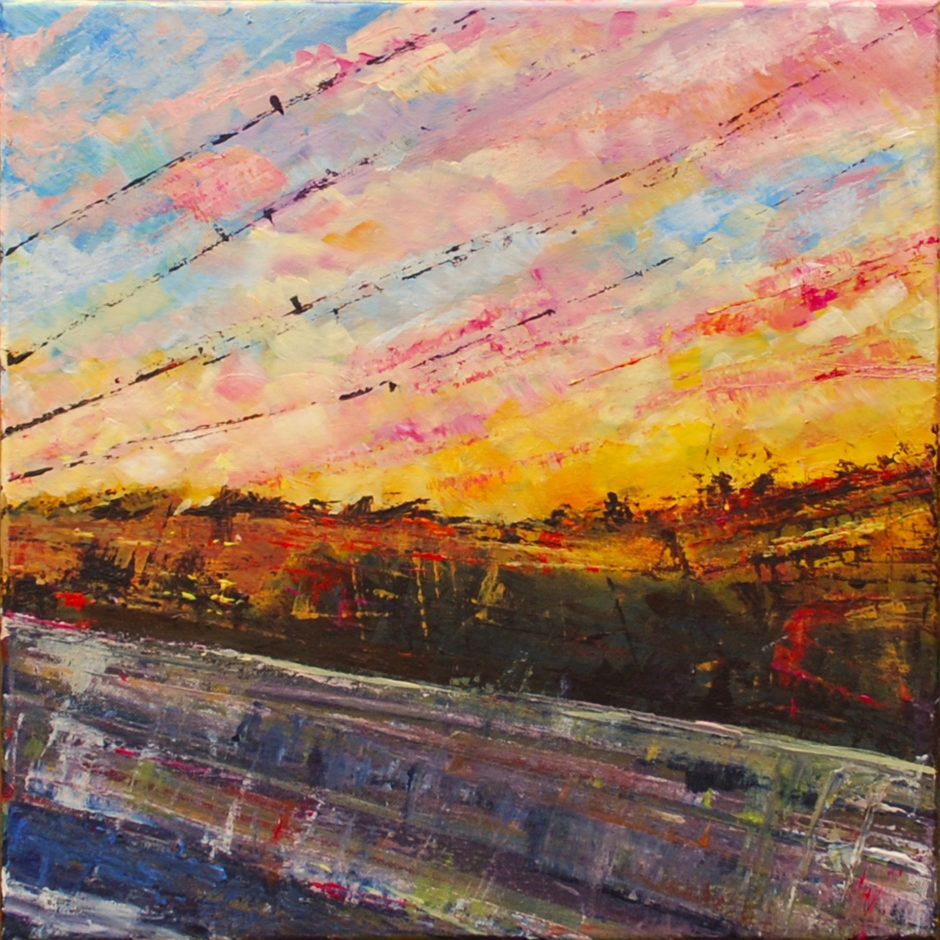 acrylic and heavily varnished painting to show view from a car window at sunset