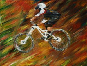 acrylic painting of a mountain bike rider in flight across a jump