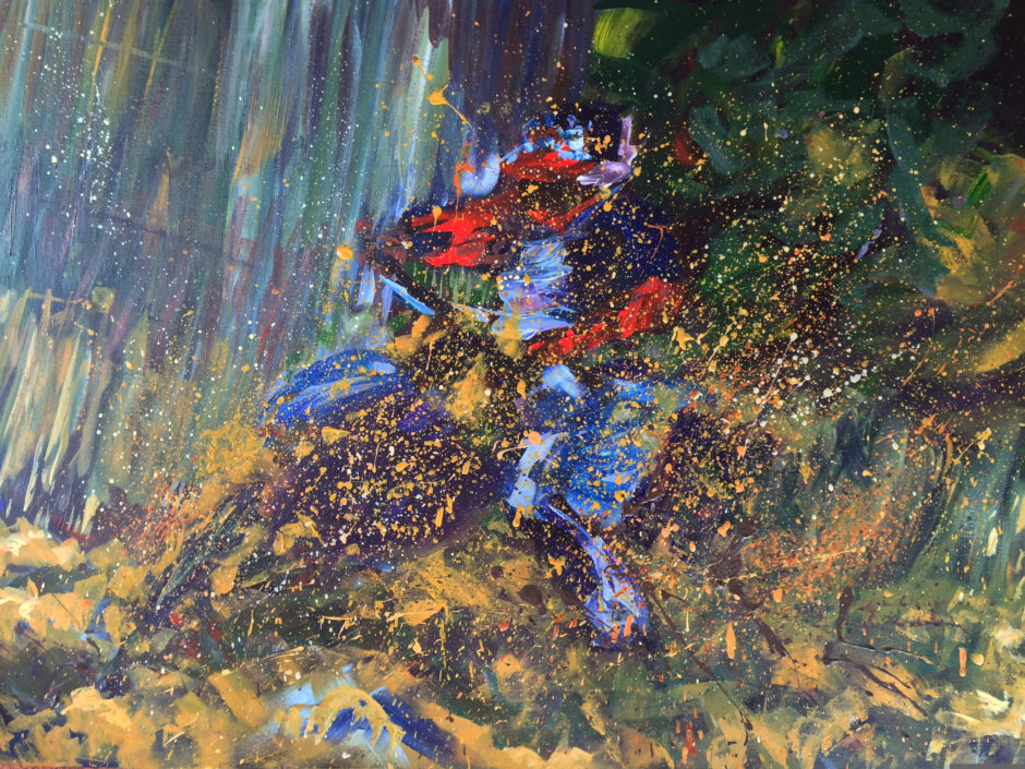 acrylic painting of an enduro rider cornering in muddy field in Kent