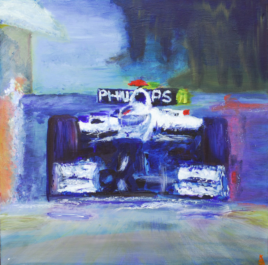 acrylic painting of barrichello in williams car over hill