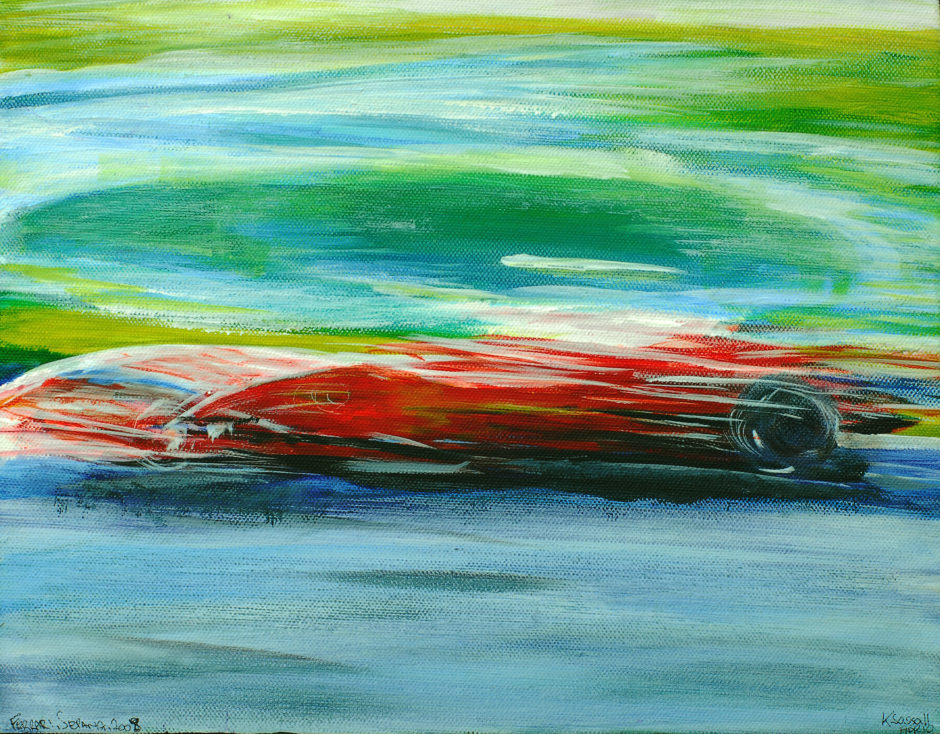 impressionist painting of a ferrari at first corner sepang malaysia