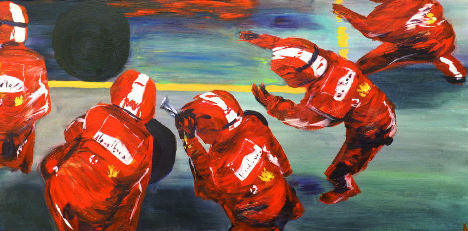 painting capturing ferrari pit crew at a tyre change
