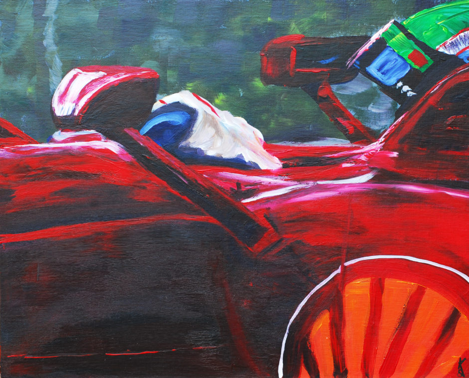 acrylic painting of massa in ferrari