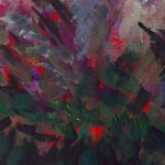 heather and tree detail of an abstract impressionist painting of the Highlands by Kathryn Sassall
