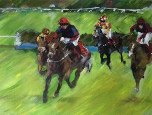 horse and rider racing after last fence at Hereford racecourse in acrylic painting