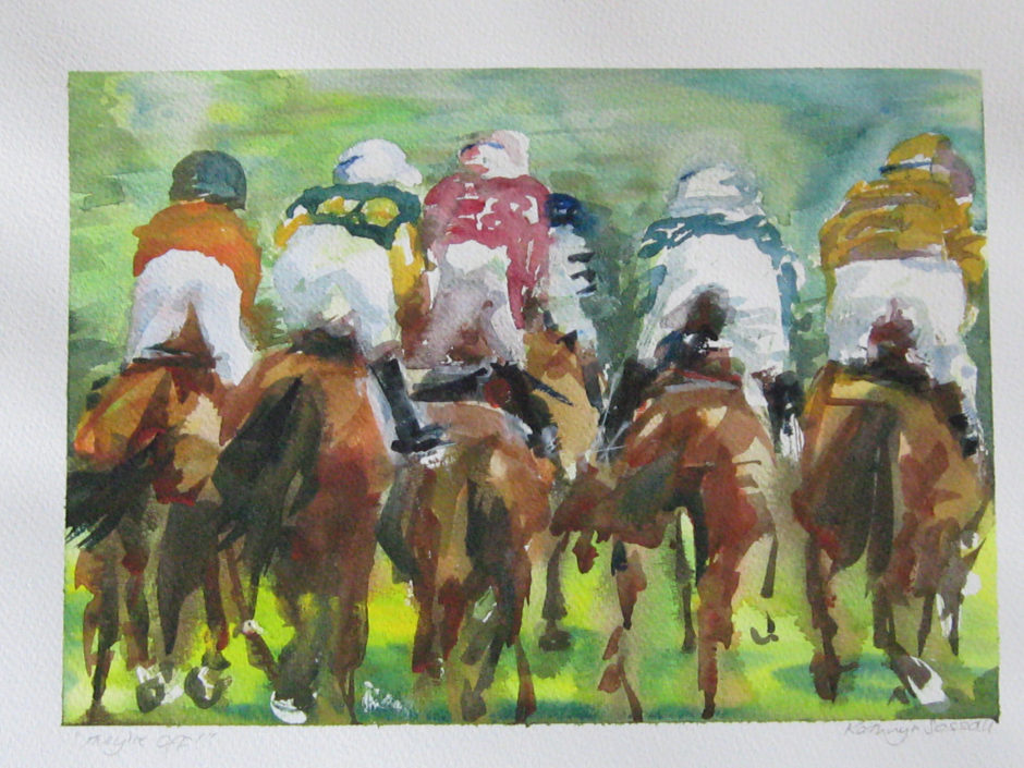 rear view of horse and rider going to the line at a point to point in a watercolour painting
