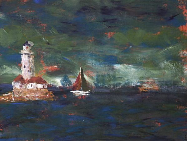 expressionist painting of stormy lake michigan chicago with sail boat and lighthouse