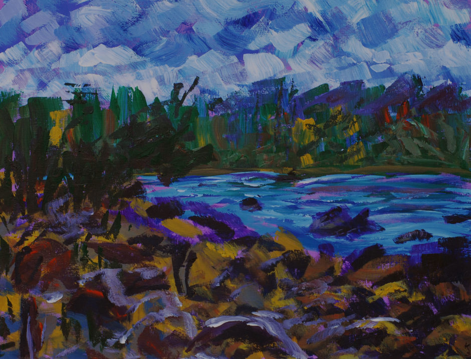 impressionist painting of water's edge in Tasmania