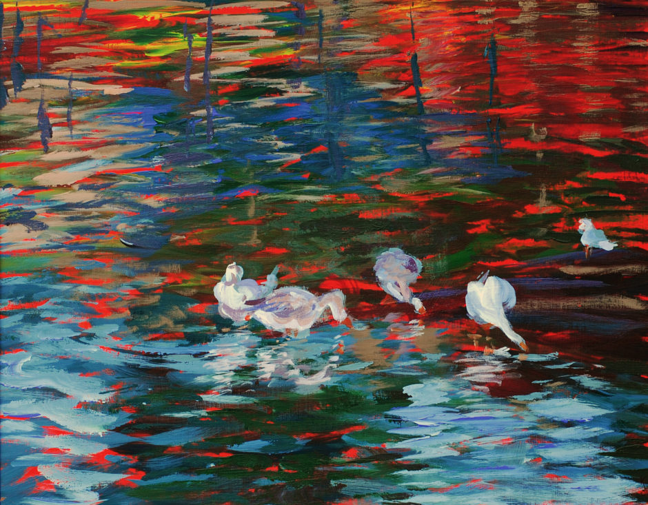 bright acrylic painting of geese on a river at sunset