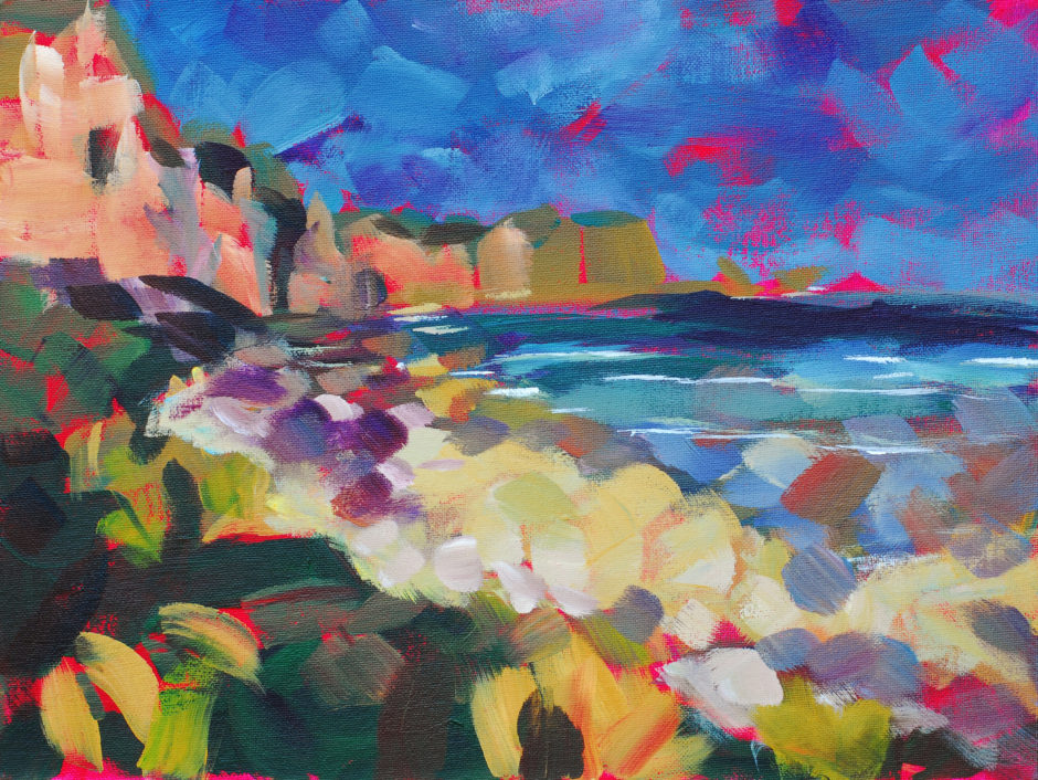 Impressionist painting of cliffs and the sea