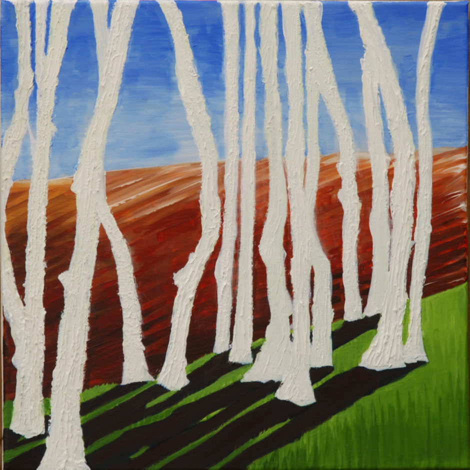 acrylic painting of trees fossilised in the fields