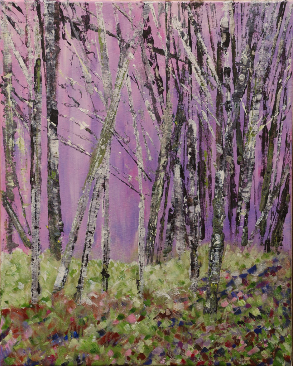 acrylic painting of trees in winter