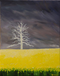 acrylic painting of a stormy sky, lightening struck tree and rapeseed field