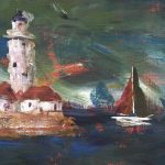 detail of a white lighthouse and red sailed boat as a storm approaches chicago in a painting by kathryn sassall