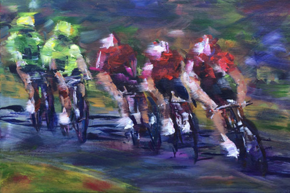 three cyclists look behind at two competitors acrylic painting tour de yorkshire