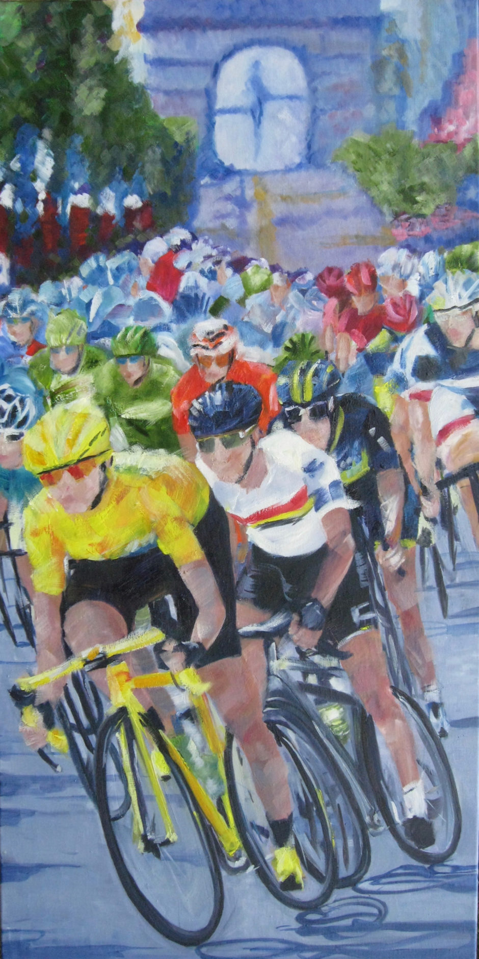 cyclists in tour de france in front of arc de triomplhe painted in oil on canvas