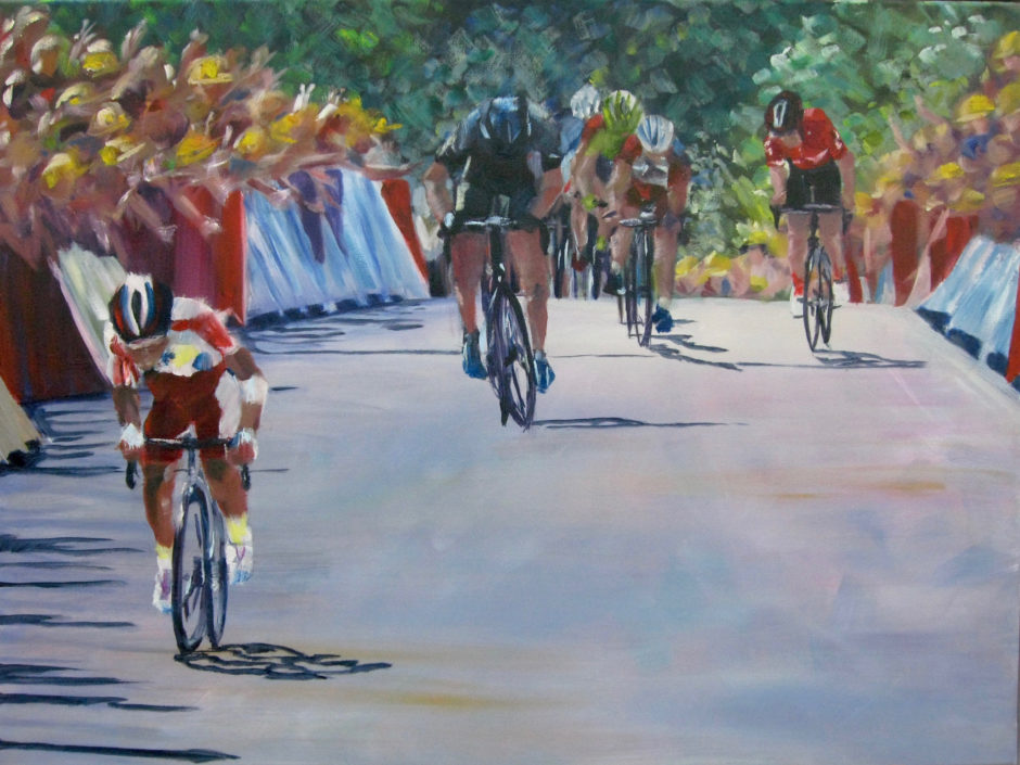 teklehaimanot cycling in tour de france as an acyrlic painting