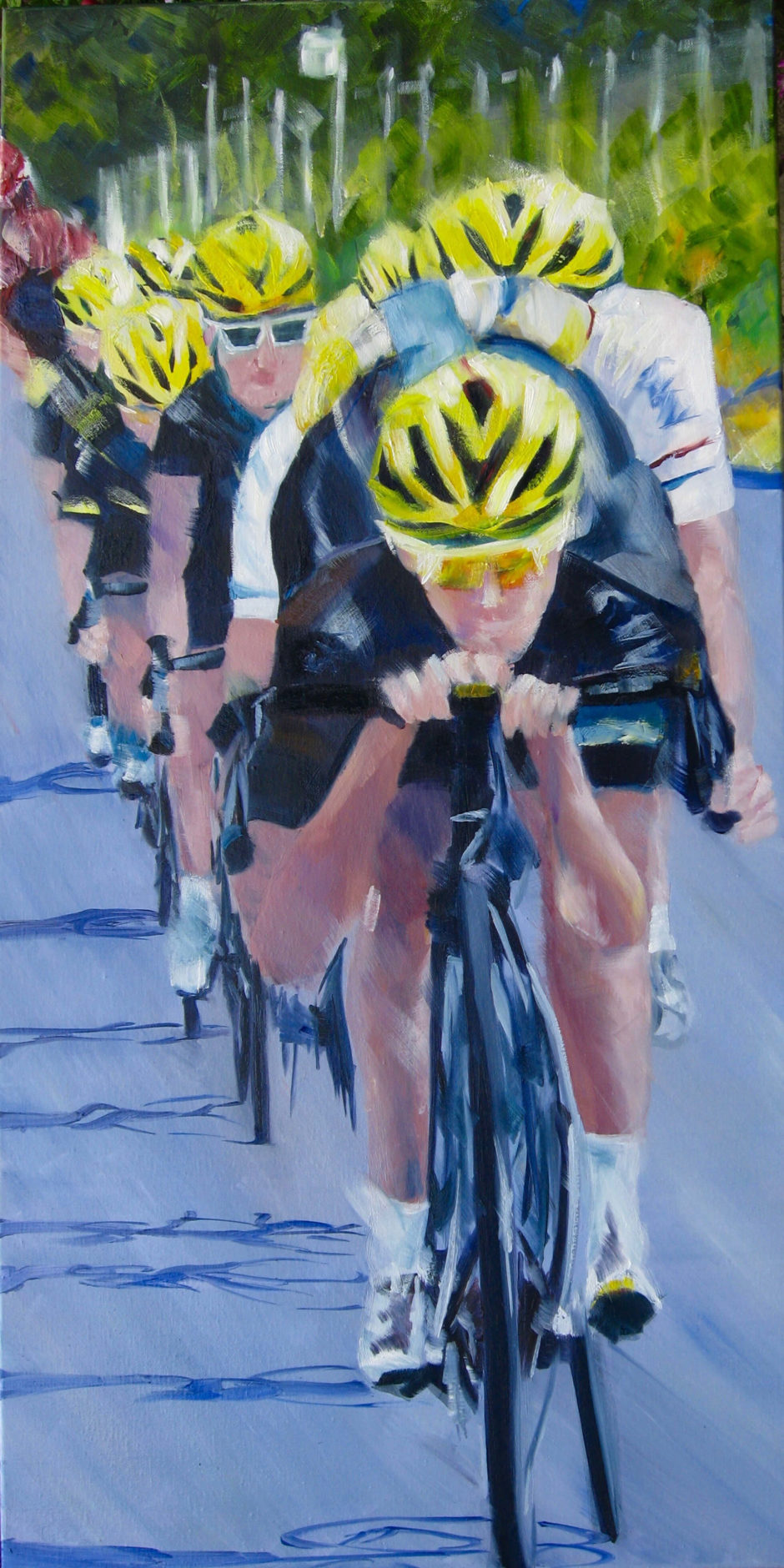 team sky riding downhill oil painting