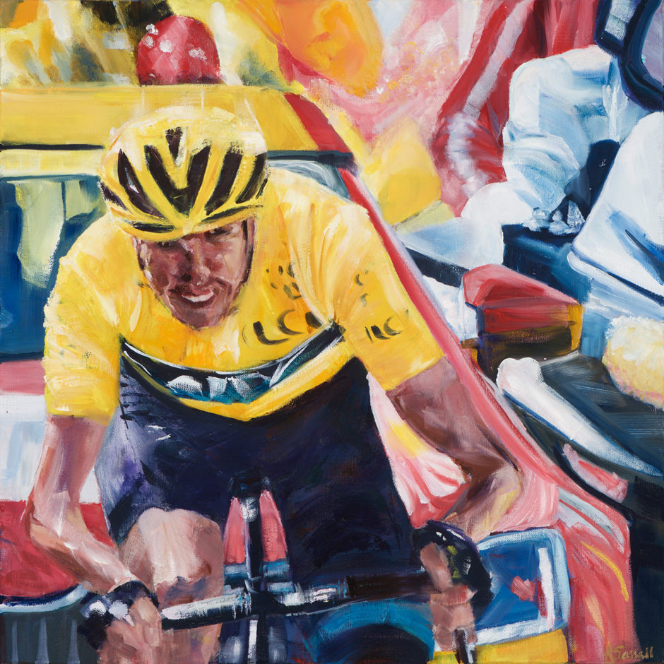 Chris froome cycling in front of course car captured in oil in a painting