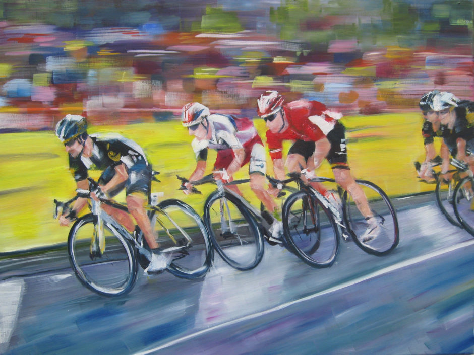 Kittel, cavendish and greipel cycling past crowd captured in oil painting