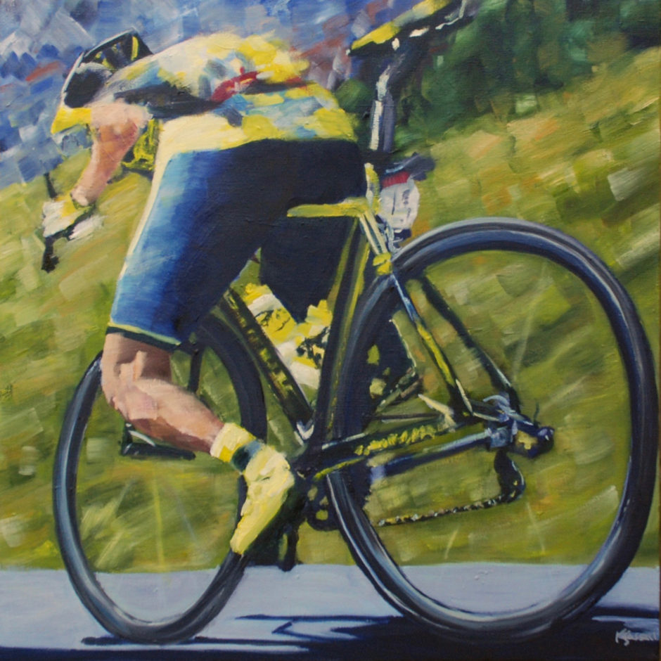 Tinkoff cyclist captured going downhill in oil painting