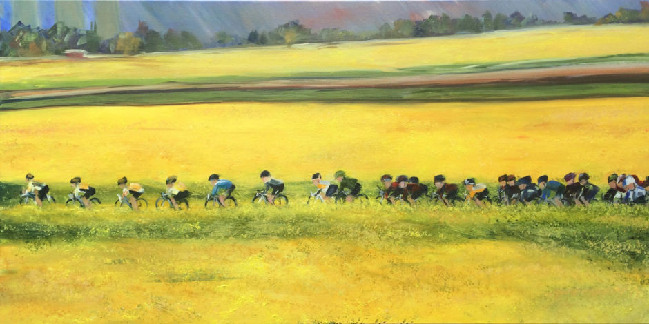 cyclists in a rapeseed field Yorkshire oil painting