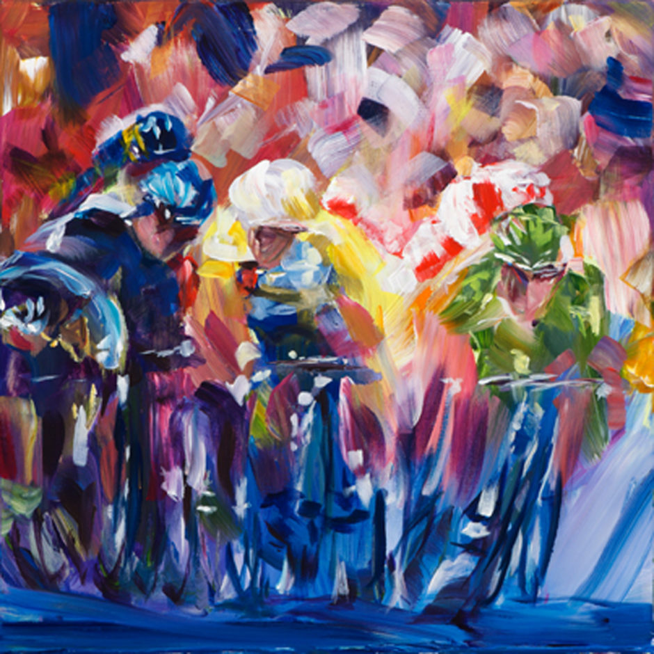 an acrylic painting of mark cavendish crashing in harrogate at tour de france 2014