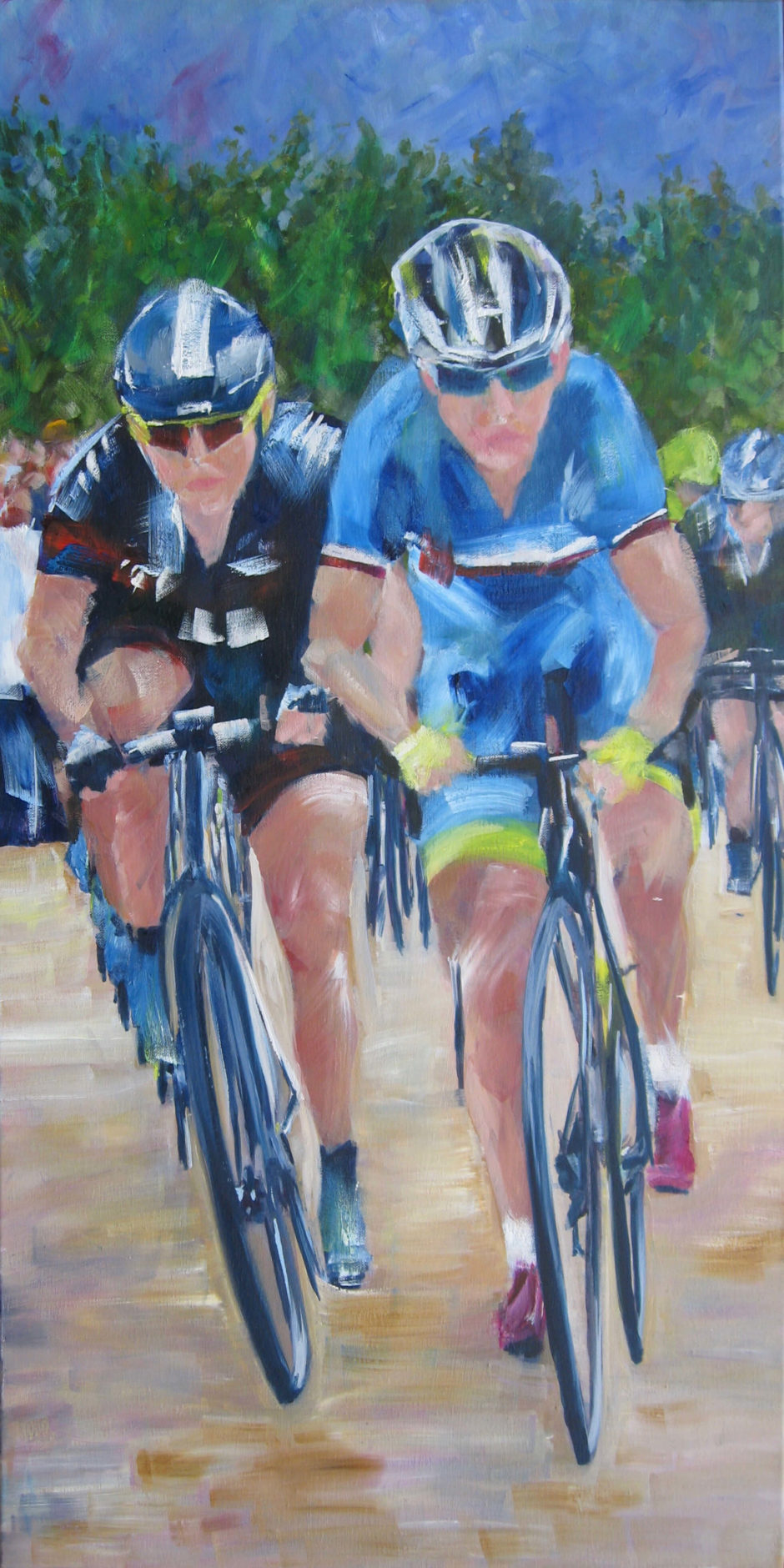 nibali and cavendish racing on cobbles oil painting