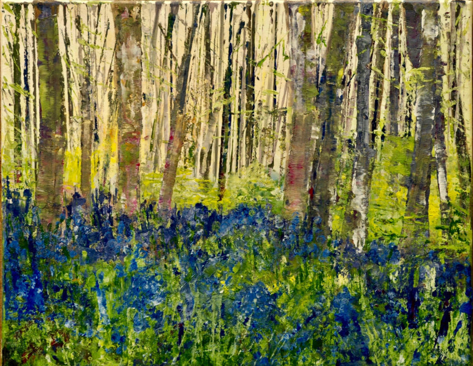acrylic painting of bluebell wood in spring