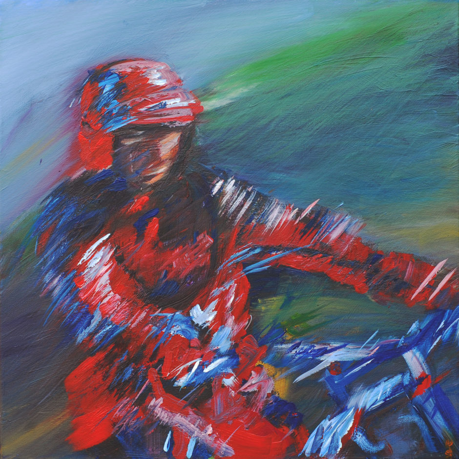 acrylic painting of a trials bike rider in action