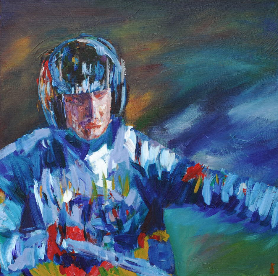 acrylic painting of a trial bike rider in action