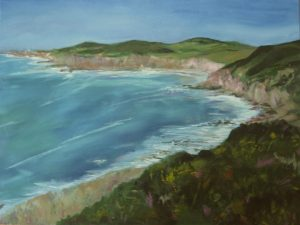 acrylic painting of a sea bay and clifs at mortehoe devon