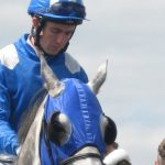 a photo of a jockey in blue silks focussing pre-race on a grey horse